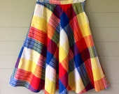 Vintage 1970s Women's Skirt / Hi Waisted Plaid Full Skirt With Right Side Pocket / Lightweight Summer Skirt / Bright Colors