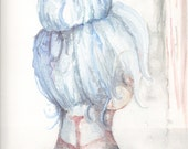 Blue Haired Longing 9x12 inches Origninal Watercolor