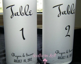 Table Number Luminaries with Names and Wedding Date