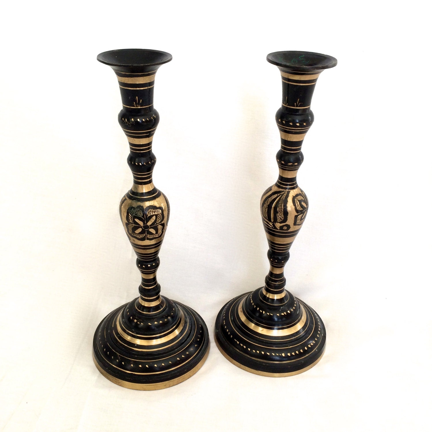 Carved Brass Candlesticks Black And Gold Candle Holders India