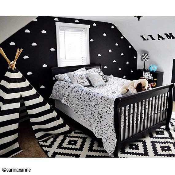 Vinyl wall sticker decal art clouds for Black and white kids room