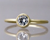 14k Gold and White Sapphire Engagement Ring - 5mm Stone in yellow or white gold