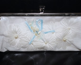 SC Vintage 50s 60s White Vinyl Handbag Clutch Fabric Flowers and Velvet Ribbon Clear Plastic 50s 1960s Clutch Bag + Faye Mell Designs Clutch