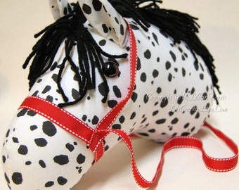 Stick Horse Head, Black & White Appaloosa with Red Bridle, MADE to ORDER, With or Without Stick