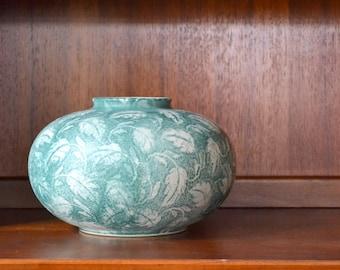 vintage west german green leaf pottery vase