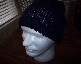 Mens Navy Blue  Knitted Hat, Oversized, Dread Locks, Slouchy Hat