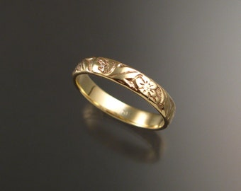 14k Yellow Gold wedding ring 3.6mm Vine and Flower pattern Band made to order in your size Victorian wedding band