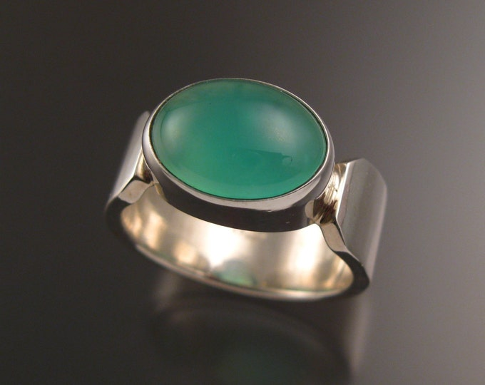 Chrysoprase ring Sterling silver heavy wide band handmade ring size 10 1/2