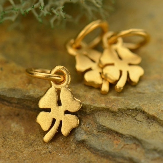 Clover Charms -Tiny Four Leaf Lucky Clover  - C976, Sterling Silver, Gold Plated, Good Luck Charms