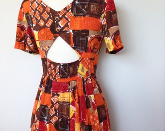 Abstract Patterned Mid Century Day Dress / Mad Men Dita Von Teese Style / Vacation Wear Vintage Spring Summer Dress / MCM Dresses