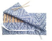 Knitting  Needle Case DPN Organizer Blue Fabric Roll Up