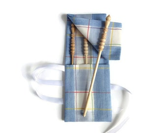 Crochet Hook Case Blue Check Fabric Case  Brittany Hooks Case and Hooks Size D F H Hooks for Knitter's Tools Roll Up Case