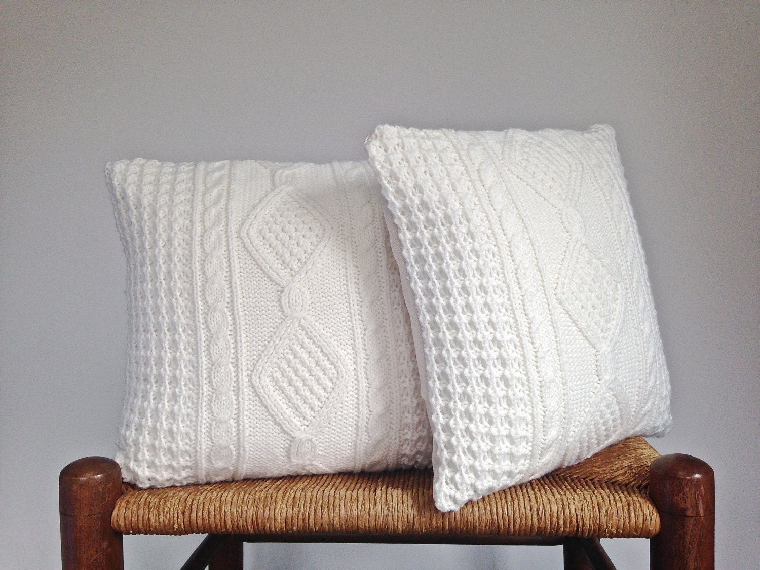 celtic cable sweater pillow covers off white up cycled sweater. Black Bedroom Furniture Sets. Home Design Ideas