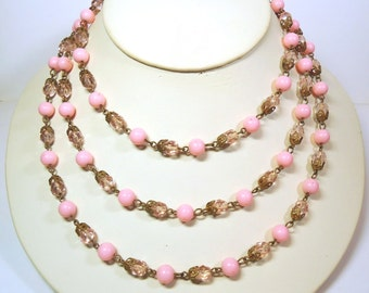 "52"" Art Deco Rose Pink Bead Necklace with Plastic & Glass Crystals on Chain Link - Vintage 20's Period Piece Costume Jewelry"