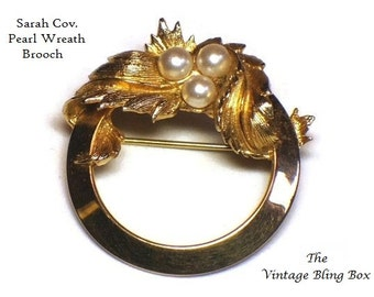 60s Sarah Cov Pearl Wreath Brooch in Gold Circle Leaf Motif - Vintage 60's Emmons Coventry Costume Jewelry