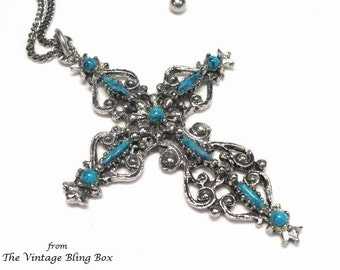 60s Turquoise Cross Pendant with Cabochon Beads Pave Set in Silver Open Metalwork Design - Vintage 60's Necklace Costume Jewelry