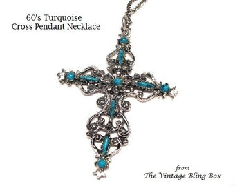 60's Turquoise Cross Pendant with Cabochon Beads Pave Set in Silver Open Metalwork Design - Vintage 1960's Necklace Costume Jewelry