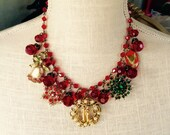 Merry and Bright - Vintage Christmas Necklace Collage SALE was 95.00