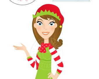 Brunette Christmas Woman Elf in Red and Green Elf Hat Gesturing Character Illustration, Christmas Elf Character, Christmas Woman Character