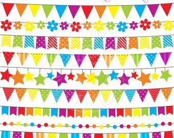Rainbow Bunting Cute Digital Clipart for Commercial or Personal Use, Flag Banner Clipart, Rainbow Clipart, Rainbow Flag Bunting