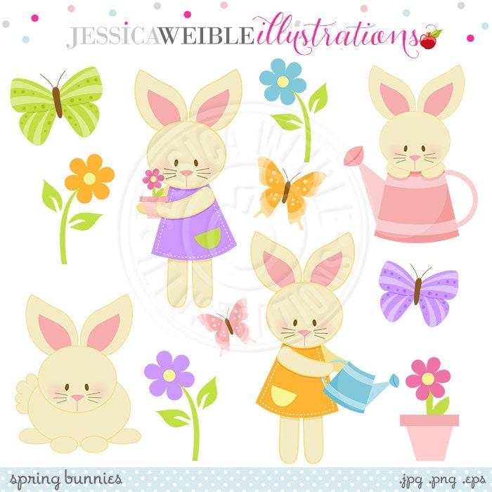Spring Bunnies Cute Digital Clipart Easter Bunny digital