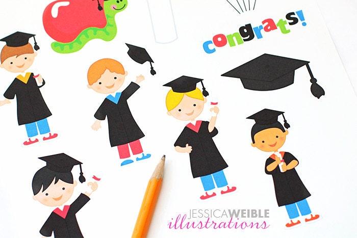 Graduation Boys Cute Digital Clipart Graduation clip art