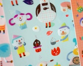 Embossed Sticky Friends - Cooking Class (3.5 x 6.9in)