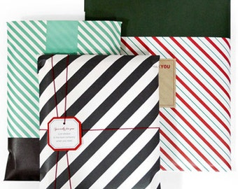 3 Stripe Book Wrapping Bags, Tags & Label Stickers (9.6 x 13in)
