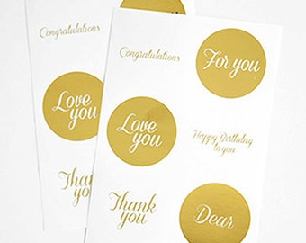 12 Gold Circle Stickers - Message (diameter 1.8in)