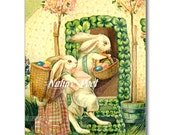 Easter Couple with Baskets of Eggs Reproduction Digital Downloadable Art Image, Instant Download