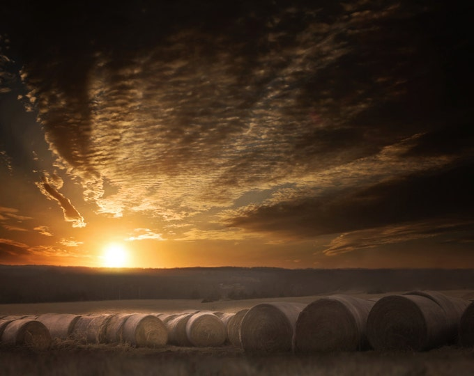 Sunset & Hay Bales- Country photography, southwest, abandoned spaces, midwest, wall decor, old barn, farm, hay bales, country living