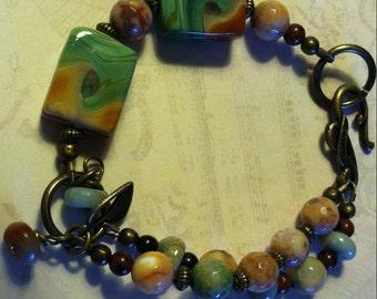 Mint Green Ceramic and Agate Bracelet