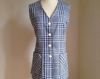 vintage 70s vest blue plaid tweed hipster groovy mod MARY TYLER MOORE