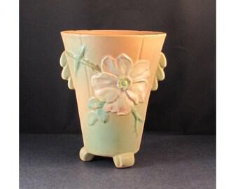 Vintage Weller Wild Rose Light Orange Vase 8 inch