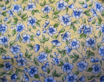Yellow and Blue Floral Fabric, Flowers, Floral, Pansy, Pansies