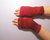 Fingerless Gloves - Red and Burgundy Mix Hand Knit Fingerless Gloves