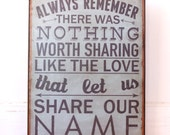 Nothing Worth Sharing Like the LOVE that let US Share Our Name- Avett Brothers.Typography print, mounted on tin on wood frame.Ready to hang.