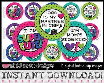 """I'm Super Cute - INSTANT DOWNLOAD 1"""" Bottle Cap Images 4x6 - 663"""