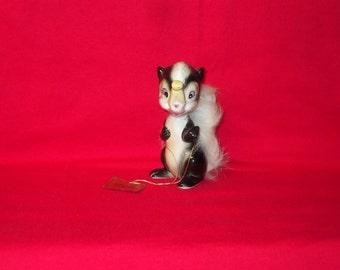 Vintage Japan NORCREST FURLAND Skunk Figurine with Fur Trim and Hang Tag