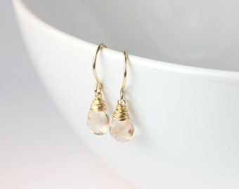 Oregon Sunstone Gold peach Semi Precious gemstone wire wrapped Earrings