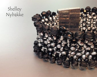 Farfalle Fever Bracelet - Black/Silver  edged in Firepolish/Melons