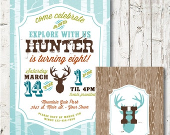 EXPLORE Outdoor Woodland boys Birthday Party PRINTABLE INVITATION --  Digital file or personalization for printing