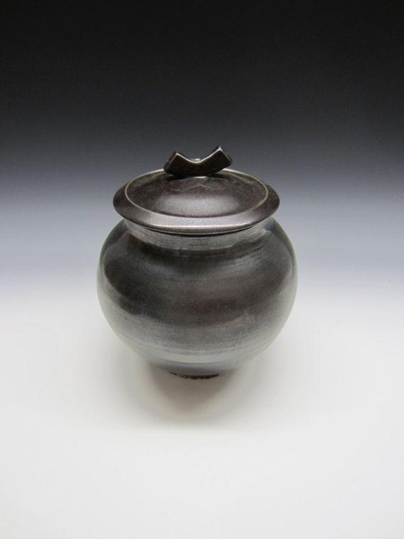 Ceramic lidded jar /  black / blue / storage jar / urn / handmade / pottery