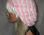 Crochet Women's Baby Pink White Chenille Slouchy Hat Beret Slouch Hat