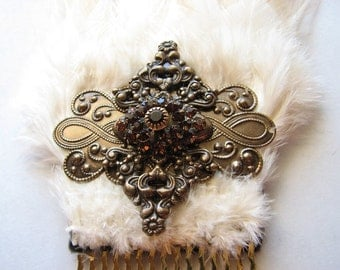Hair comb gold | brass | ivory fascinator | art nouveau