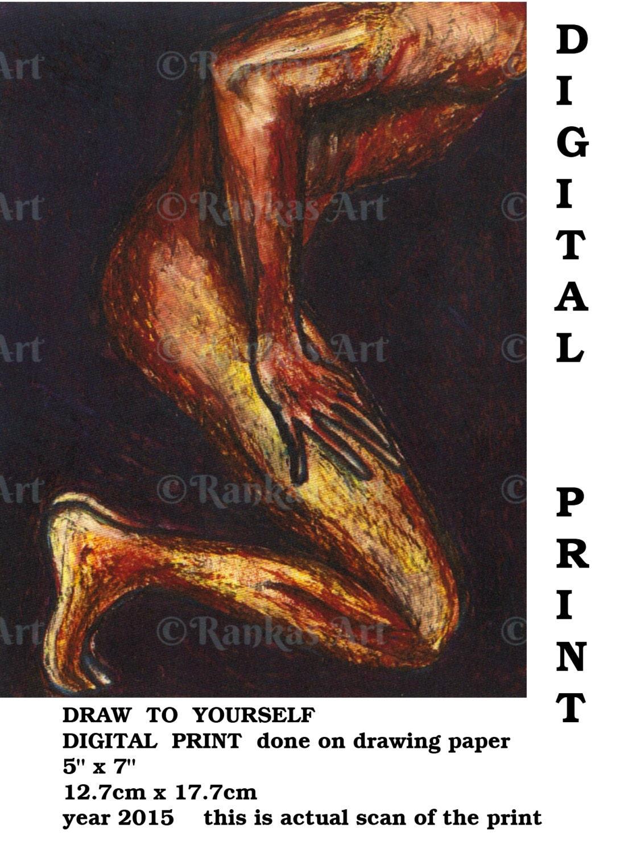 Digital Art Print Male Nude Erotic Masculine Body Ranka-6052