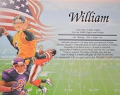 Personalized Your Child's NAME MEANING GIFT Football    8.5 X 11 Ships in 24hrs