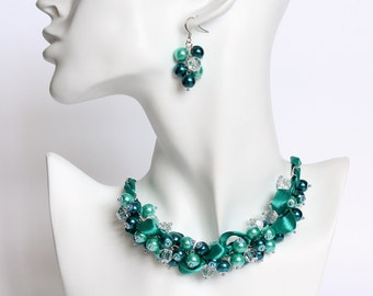 Teal Turquoise Cluster Necklace and Earrings Set
