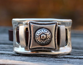 Western Cuff , Leather Bracelet , Silver Bracelet , Leather Cuff , Silver Cuff , Statement Bracelet , Chunky Bangle , Amy Fine Design