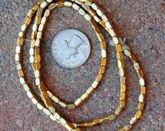 Indian Metal Tube: Gold Finish 2x4mm